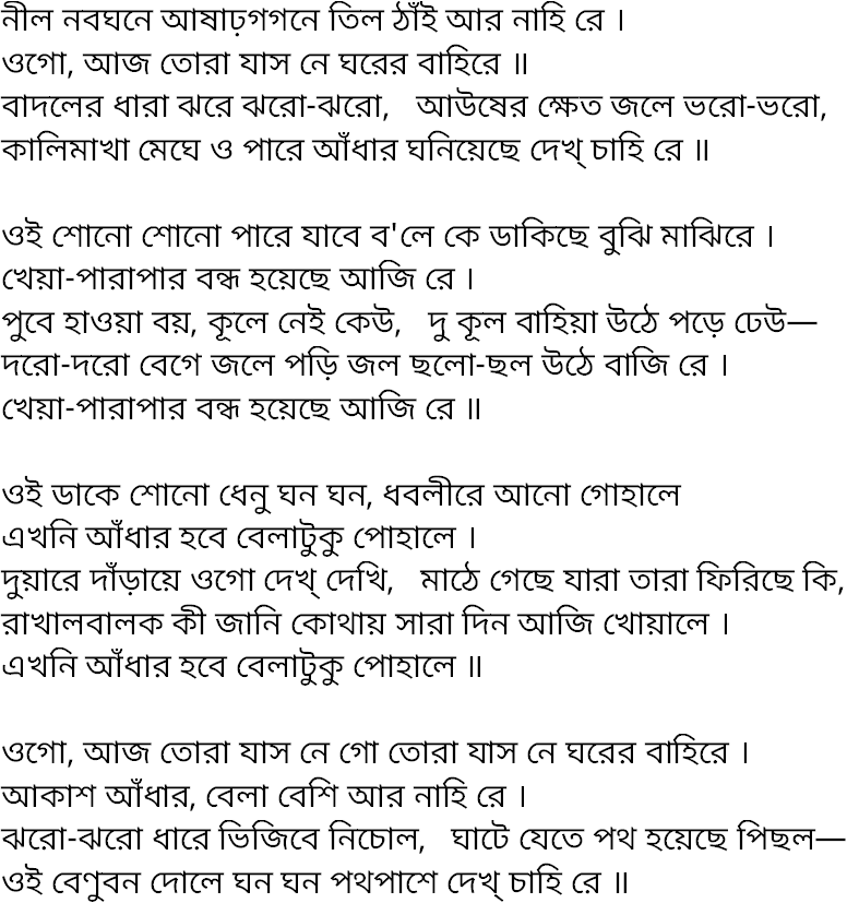 Song nil nabaghane asharogagone | Lyric and History
